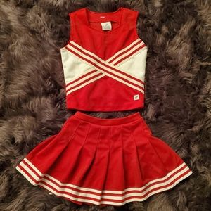 All red and white cheerleading company set